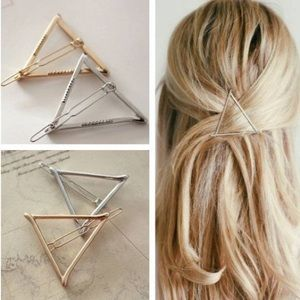 Accessories - 🆕 Geometric Triangle Hair Clips Gold Silver Metal